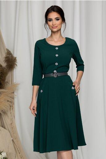 Rochie Bella verde inchis cu nasturi