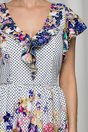 Rochie Betina alba vaporoasa cu buline si flori