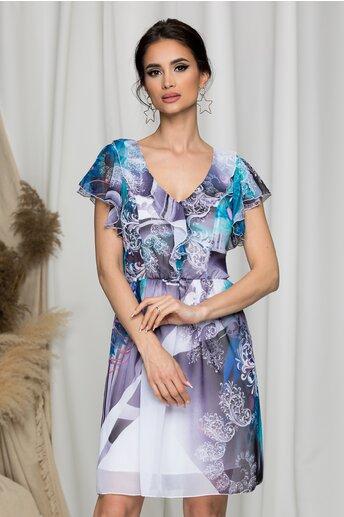 Rochie Betina vaporoasa cu imprimeuri lila si turcoaz
