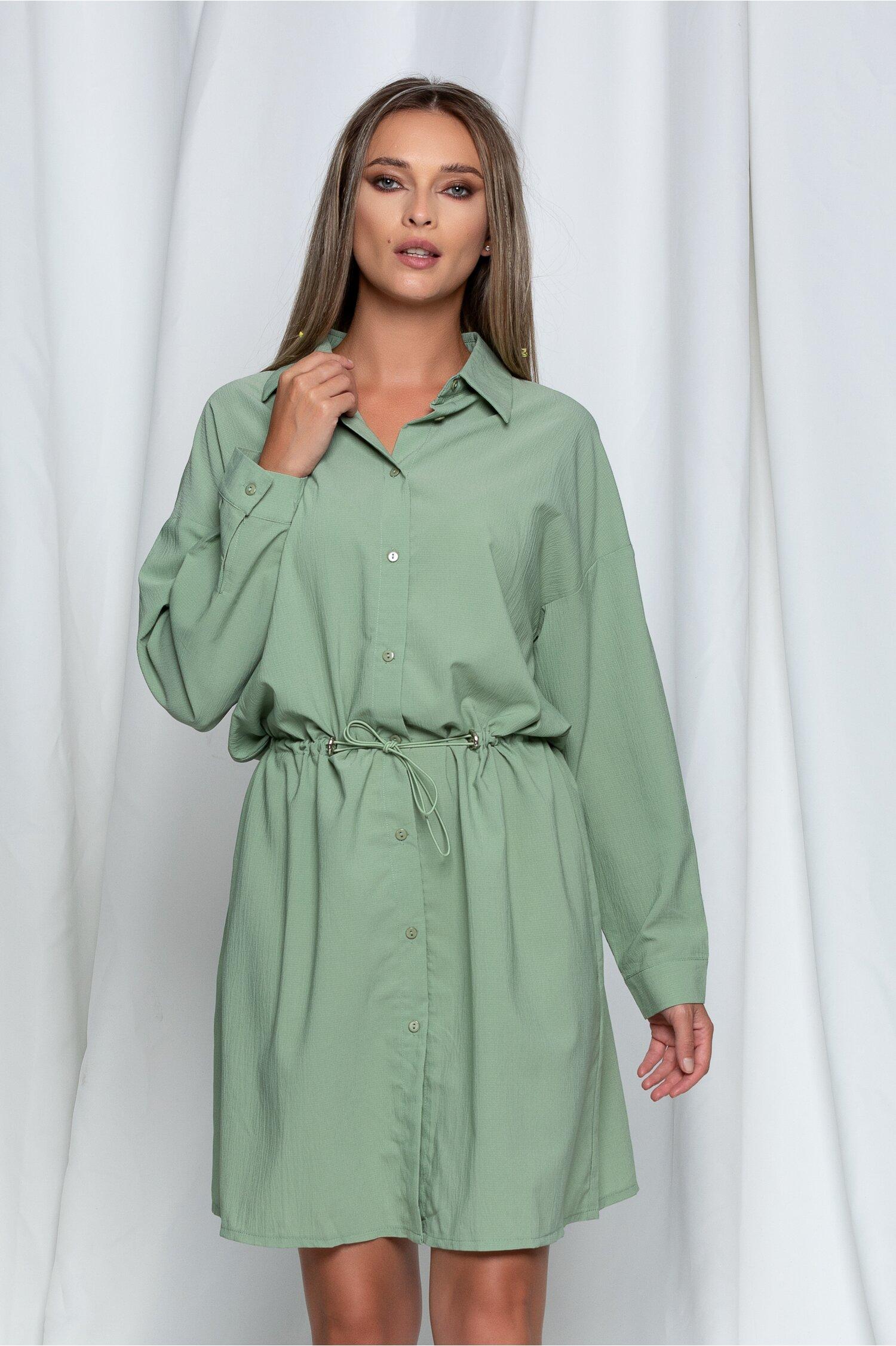 Rochie Betsy tip camasa verde cu snur in talie