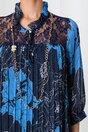 Rochie Betty bleumarin plisata cu imprimeu floral si buline