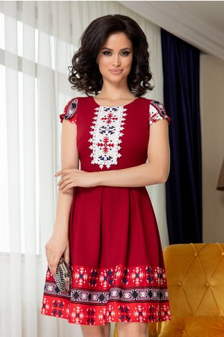Rochie Betty bordo clos cu motiv traditional