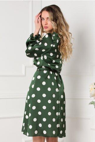 Rochie Betty verde inchis cu buline