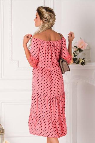 Rochie Bia lejera roz-corai cu buline bleumarin