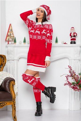 Rochie Bia rosie cu imprimeu de iarna