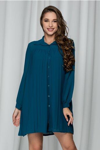 Rochie Bianca albastru petrol tip camasa cu pliuri