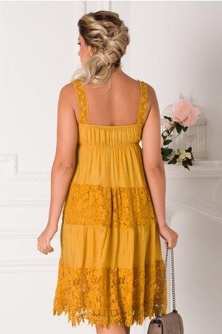 Rochie Bianca galben mustar de vara cu insertii din dantela