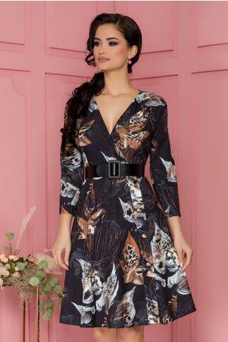 Rochie Bianca neagra cu imprimeu floral si curea in talie