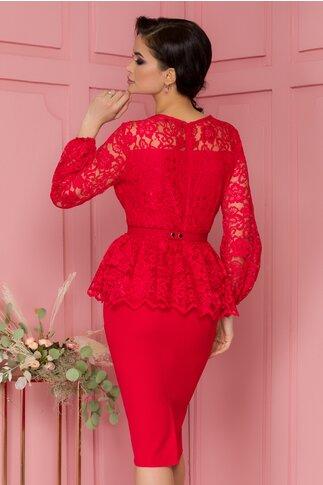 Rochie Bianca rosie cu dantela la bust si peplum in talie