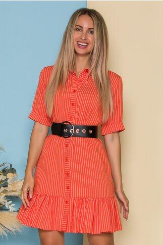 Rochie Bianca tip camasa orange cu dungi