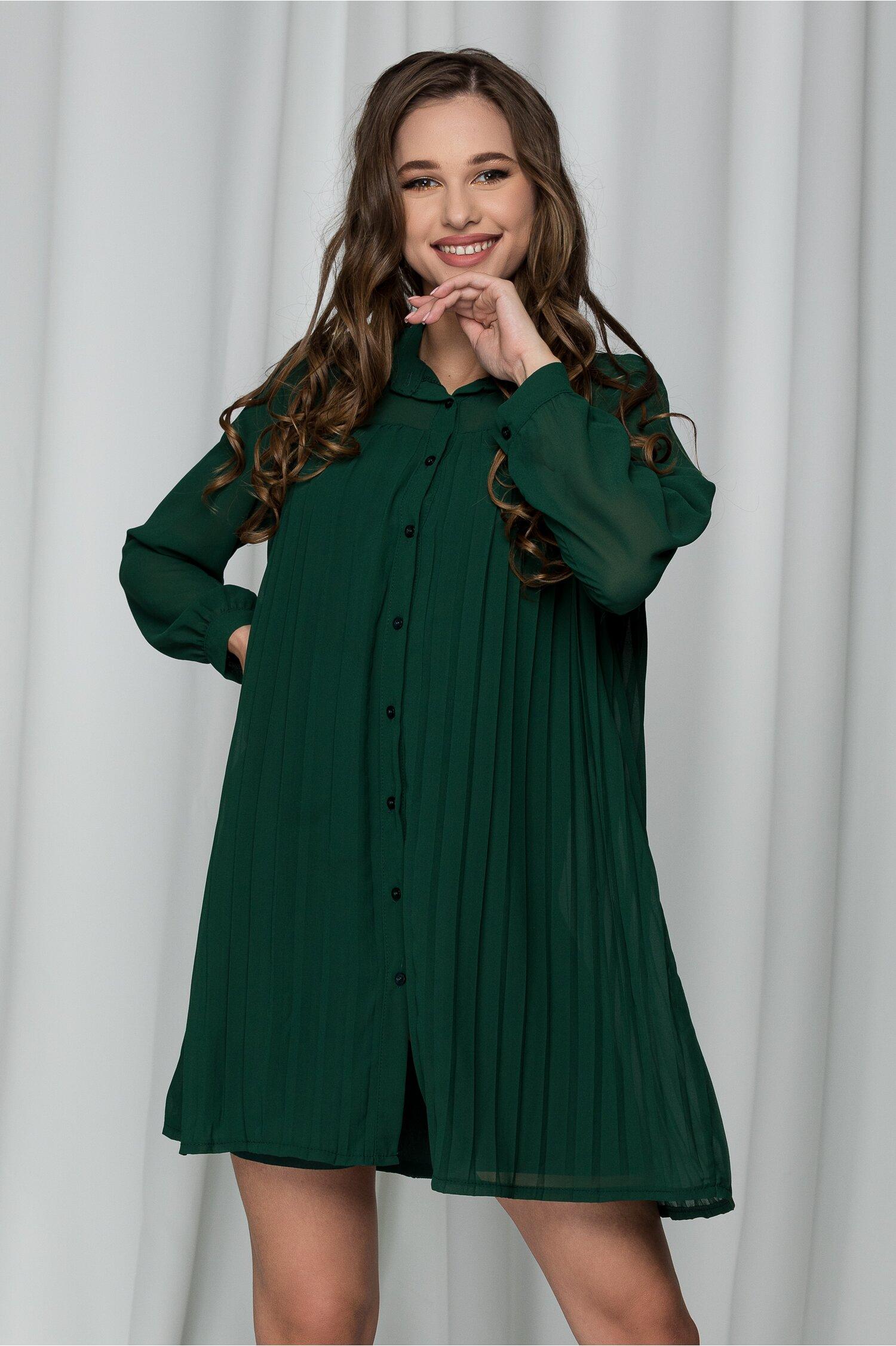 Rochie Bianca verde pin tip camasa cu pliuri