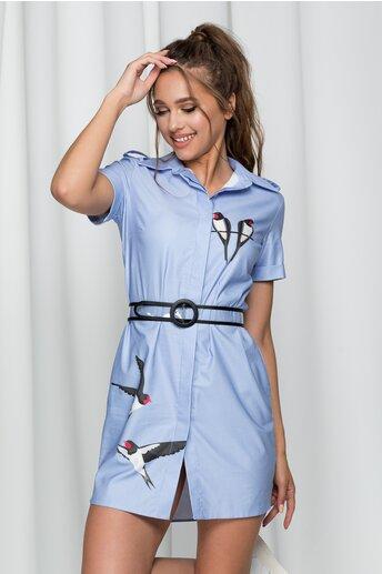 Rochie Birdie tip camasa bleu accesorizata cu o curea in talie