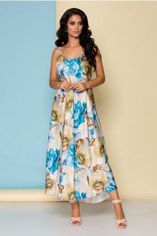 Rochie bleu cu imprimeu floral si bretele subtiri