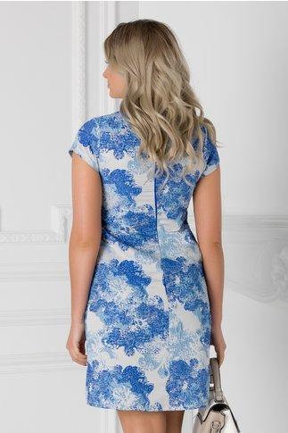 Rochie bleu din brocart cu imprimeu albastru