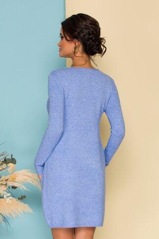 Rochie bleu din tricot cu buzunare functionale