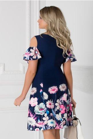 Rochie bleumarin cu flori roz si maneci decupate
