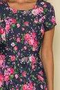 Rochie bleumarin cu imprimeu floral si buzunare