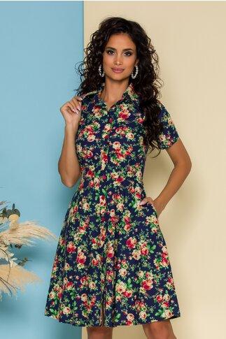 Rochie bleumarin cu imprimeu floral si guler tip camasa
