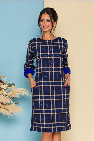 Rochie bleumarin cu imprimeu in carouri bej si albastre