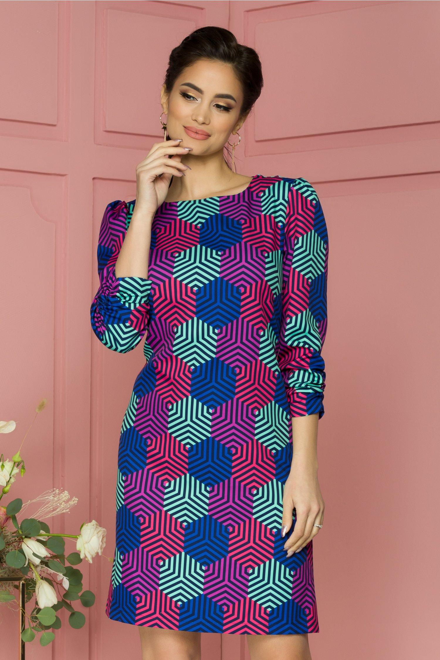 Rochie Bloomy cu imprimeu hexagonal multicolor