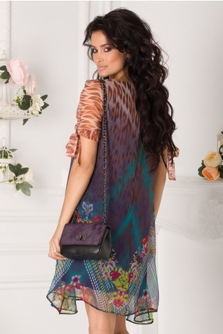 Rochie Bonnie bleumarin cu animal print maro si flori colorate