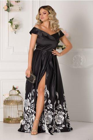Rochie Briana lunga neagra cu imprimeuri florale albe la baza