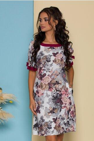 Rochie Brielle alba cu imprimeu floral si fundite bordo la maneci