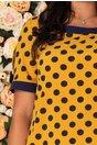 Rochie Brielle galbena cu buline bleumarin si fundite la maneci