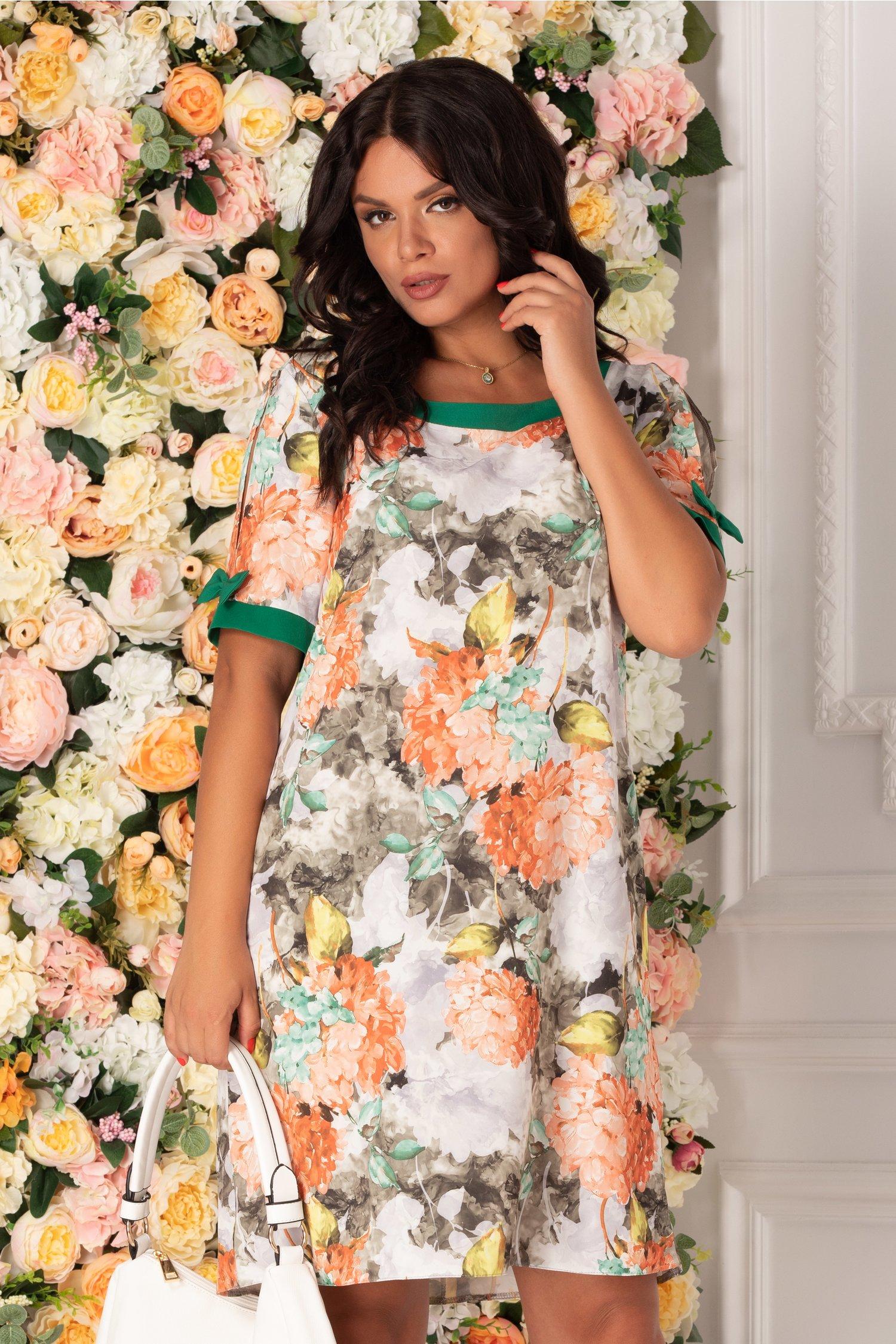 Rochie Brielle gri cu imprimeu floral si fundite la maneci