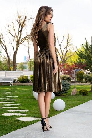 Rochie Ladonna Brigitta midi de ocazie auriu metalizat