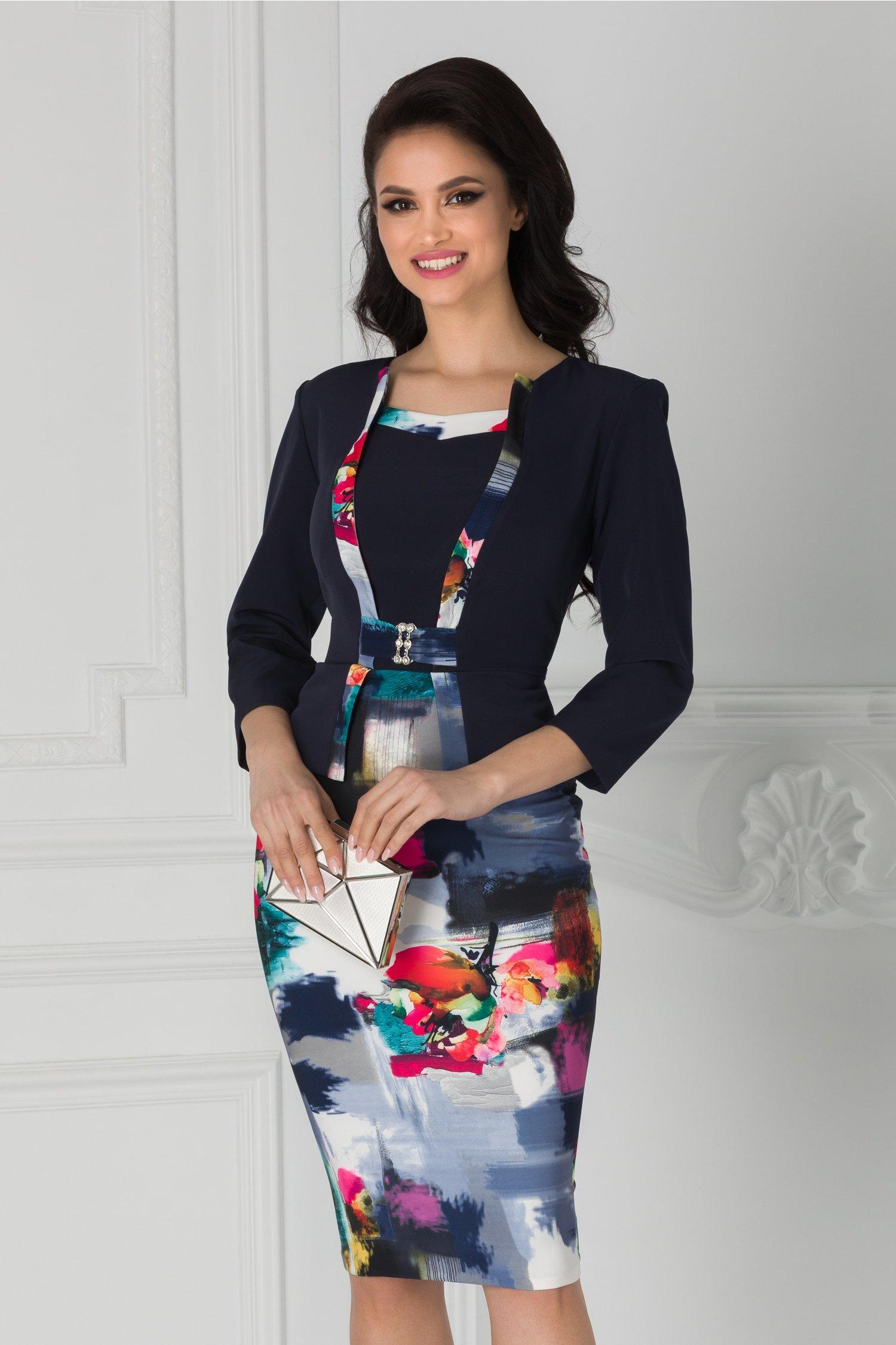 Rochie Bruno bleumarin cu imprimeu multicolor la baza