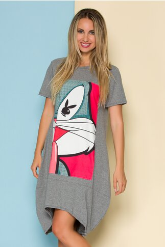 Rochie Bunny sport gri cu imprimeu