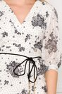 Rochie Bya alba cu imprimeu floral si decolteu petrecut