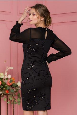 Rochie Bya neagra cu imprimeu floral catifelat si maneci din voal