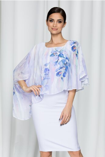Rochie Calina lila cu imprimeu floral si capa