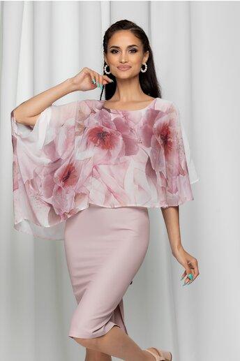 Rochie Calina roz cu imprimeu floral si capa