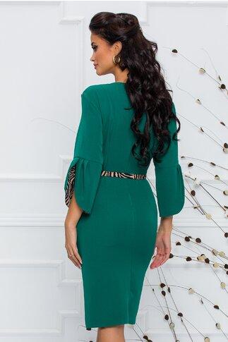 Rochie Calina verde cu insertii animal print si curea in talie