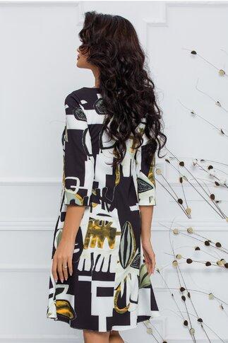 Rochie Calipso neagra cu imprimeu abstract