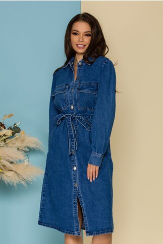 Rochie Calisa albastra din denim cu cordon in talie