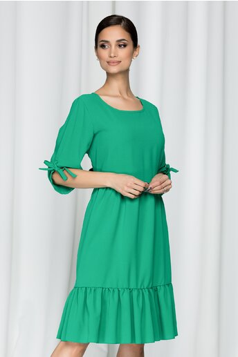 Rochie Calista verde cu maneci trei sferturi reglabile si decolteu rotund
