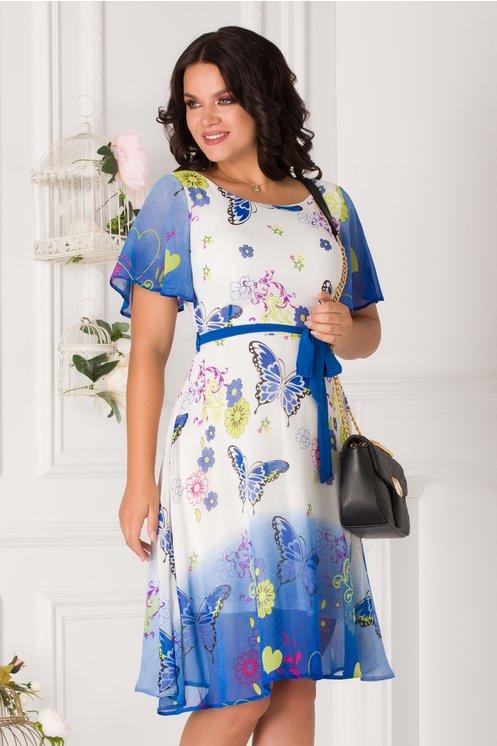 Rochie Camelia alb cu albastru in degrade si imprimeu floral