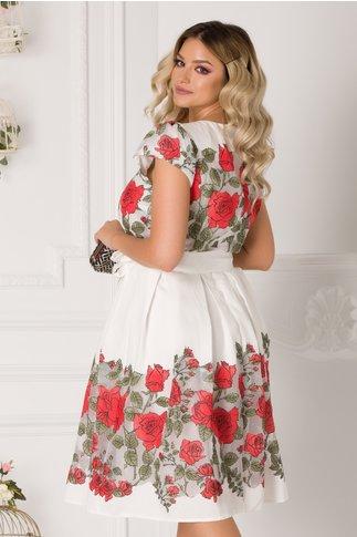Rochie Camelia alba cu imprimeu floral rosu