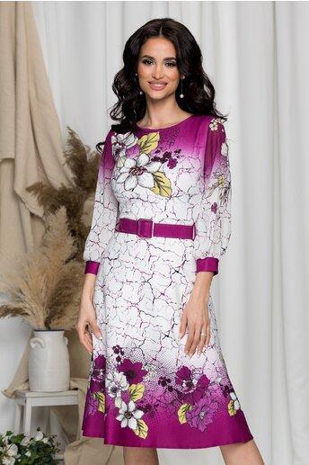 Rochie Camelia alba cu imprimeuri violet