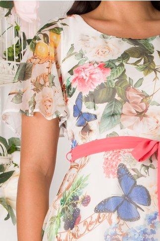 Rochie Camelia ivory cu imprimeu floral si fluturi