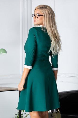 Rochie Camelia verde cu funda la guler
