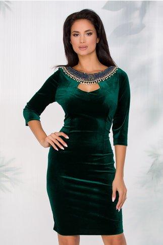 Rochie Camelia verde smarald din catifea cu aplicatii tip colier