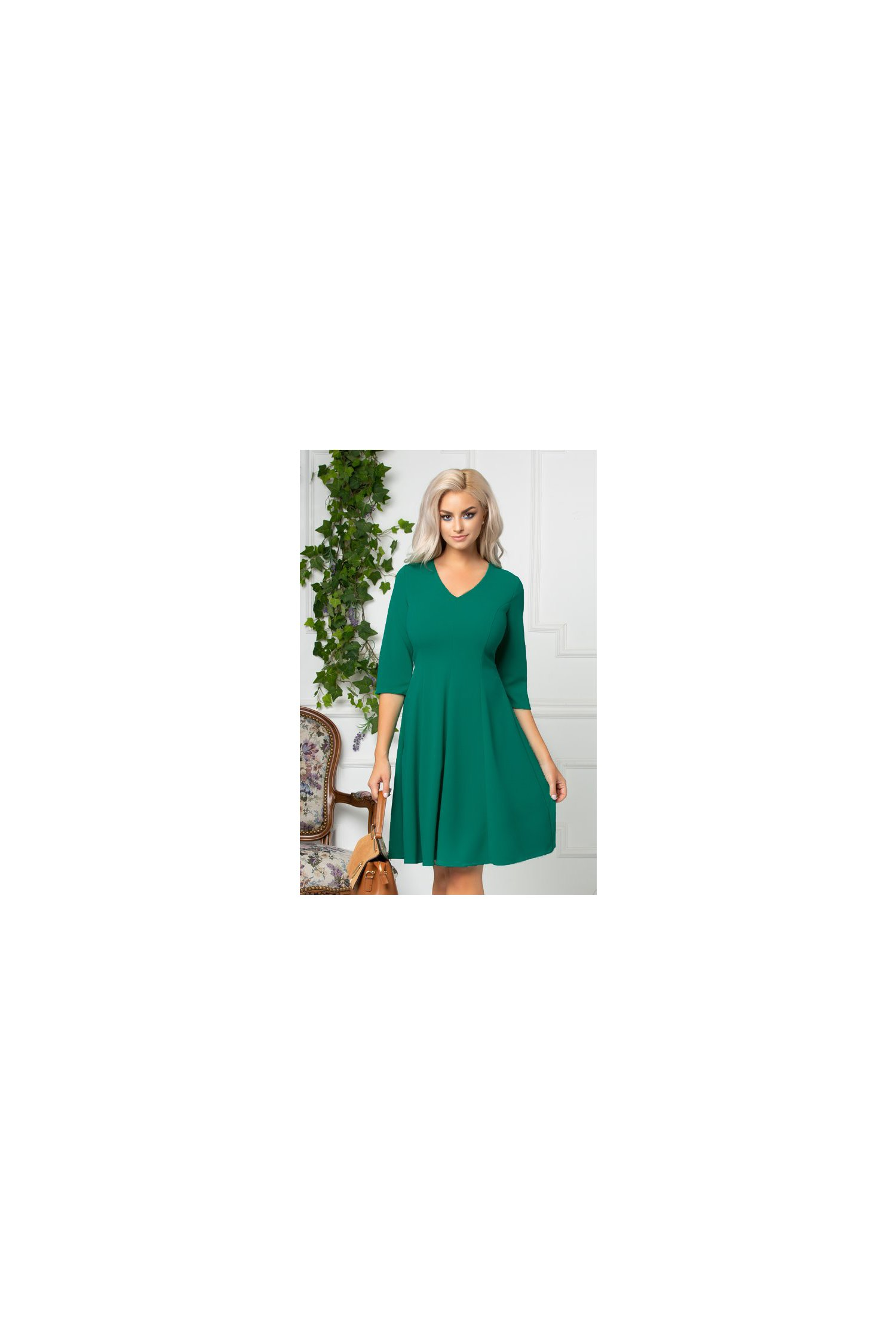 Rochie Camille office verde inchis cu manecute