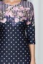 Rochie Camina bleumarin cu buline si imprimeu floral