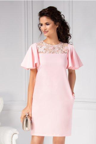 Rochie Camy dreapta eleganta roz cu broderie 3D