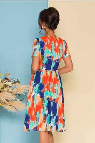 Rochie Cara cu imprimeu paint multicolor